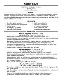 unforgettable security supervisor resume exles to stand