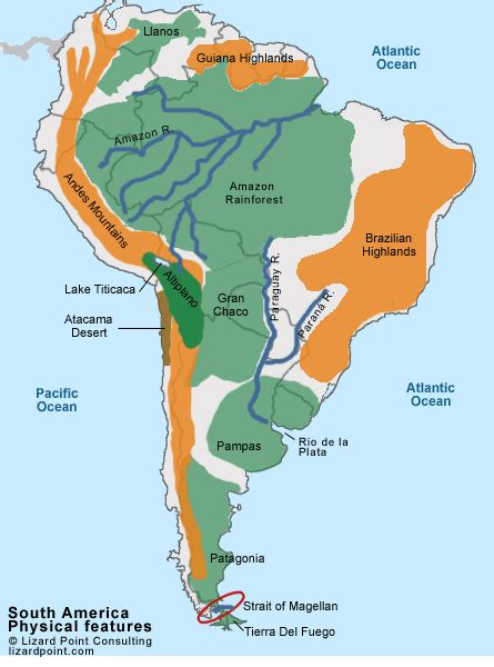 south america map labeled south america physical features quiz