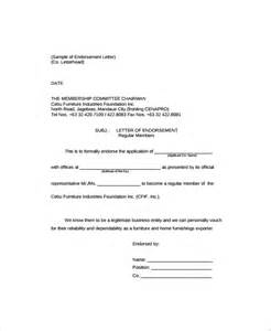 Endorsement Letter Company Sle Endorsement Letter 9 Documents In Pdf