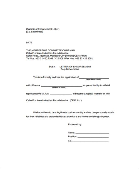 Endorsement Letter Exles Sle Endorsement Letter 9 Documents In Pdf