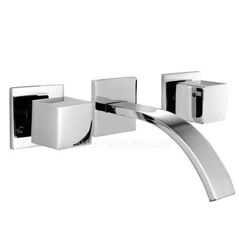 waterfall 3 holes wall mount bathtub faucet sink mixer tap modern three hole wall mount waterfall bathroom sink faucet