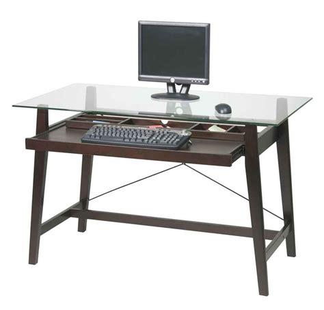 Office Desk With Glass Top Desk For Computer And Laptop