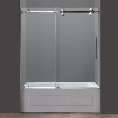 Shower Doors On Tub Aston Tdr978 60 In X 60 In Frameless Tub Shower Sliding Door Atg Stores