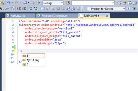 android layout namespace xamarin android intellisense not working in visual studio