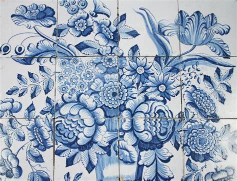 Fish In Flower Vase Antique Dutch Delft Tile Mural With A Flower Vase And