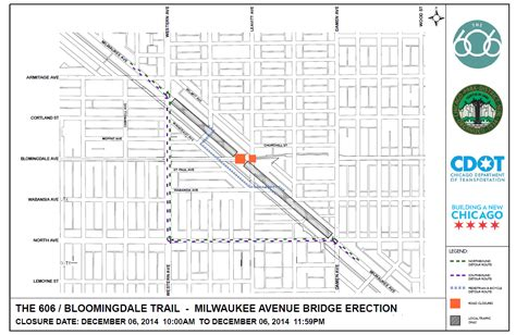 chicago 606 map bloomingdale trail bridge arch installation postponed