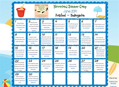 calendar photo themes ideas neverland summer c for preschool kindergarten june