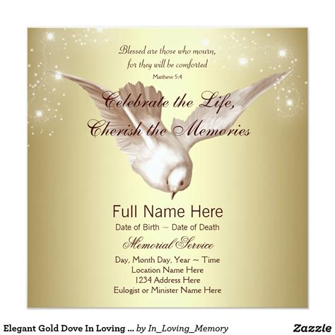 In Loving Memory Cards Template by Gold Dove In Loving Memory Memorial Card