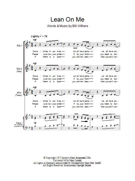 printable lyrics lean on me lean on me sheet music direct