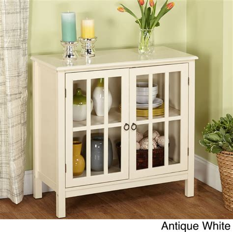 Simple Living Portland Glass Door Cabinet Contemporary Sideboards And Buffets With Glass Doors