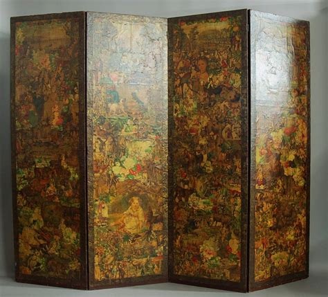 Decoupage Screen - late 19th century four panel folding decoupage screen for