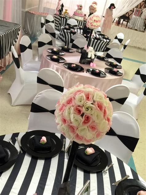 Sophisticated Baby Shower Decorations by Modern Chic Chanel Baby Shower Baby Shower Ideas