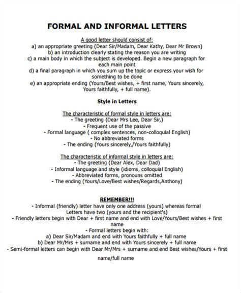 Formal Letter Vs Informal sle formal letter format 34 exles in pdf word