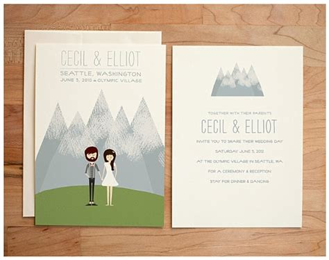 wedding invitations caricature drawings whimsical wedding invitations