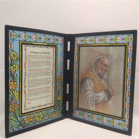 stained glass picture frame of padre pio