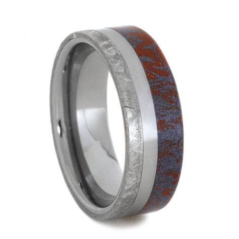 blue and mokume wedding band with meteorite ring on