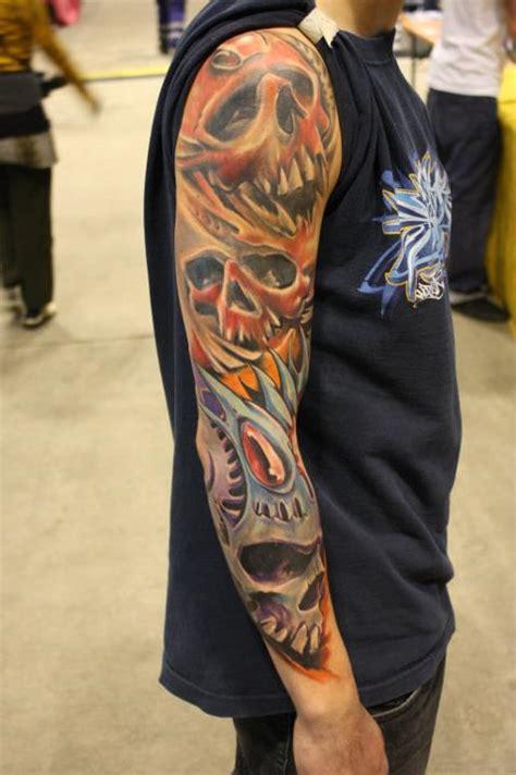 ripped skin skull tattoo design