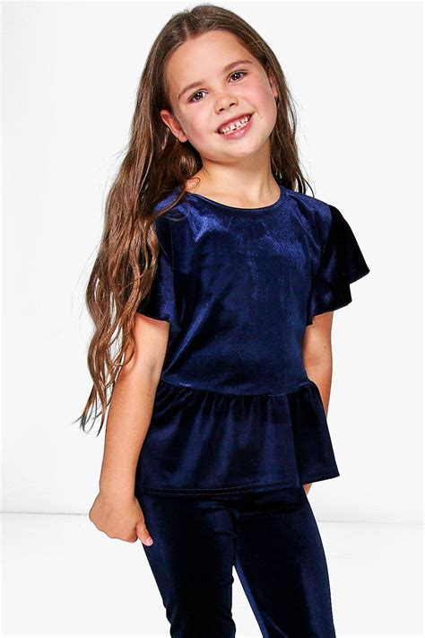 girls swing top girls ruffle hem velvet swing top at boohoo com