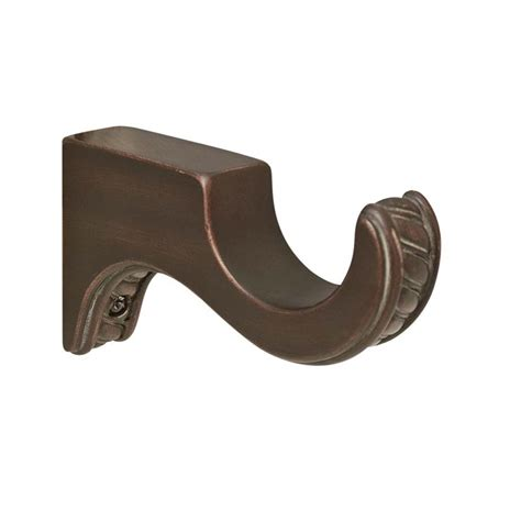 wood drapery rods and hardware shop allen roth 2 pack cocoa wood curtin rod brackets at