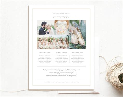 Wedding Pricing Guide Flyer Templates Creative Market Wedding Photography Pricing Guide Template