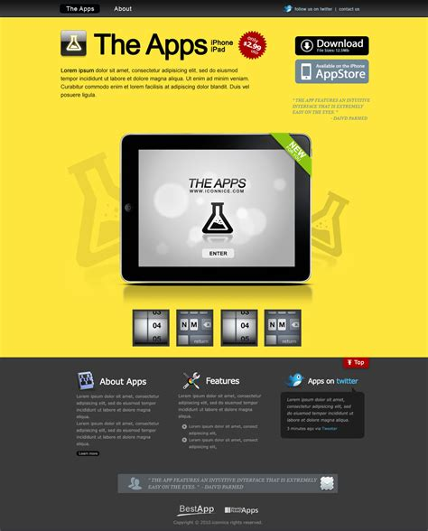 free website templates for yellow pages yellow ipad apps web template by iconnice on deviantart