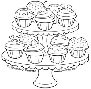 cupcakes coloring pages dulemba coloring page tuesday tier of cupcakes
