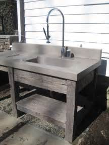 concrete bathroom sinks reclaimed wood vanity base and concrete bathroom sink by
