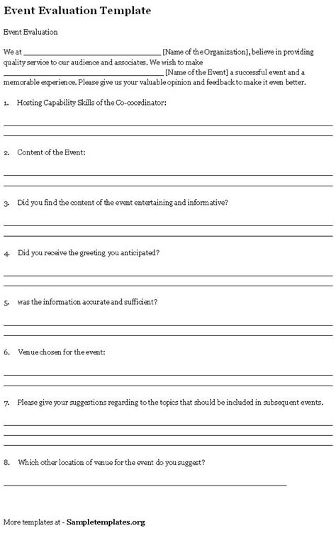 event template event template for evaluation exle of event evaluation