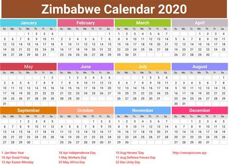 holiday calendar zimbabwe  calendar