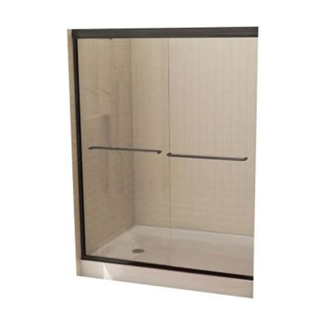 maax tonik 54 in to 59 1 2 in w shower door in bronze