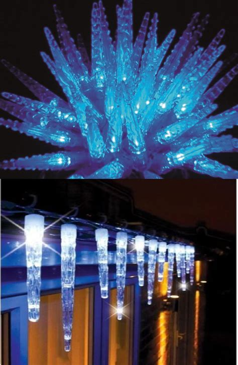 do icicle christmas lights use much power large 24 sculpture icicle lights 72 led outdoor blue white ebay