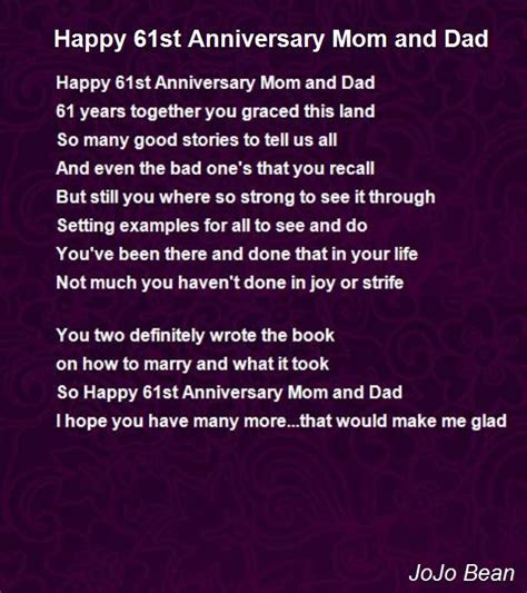 Happy 61st Anniversary Mom And Dad Poem by JoJo Bean