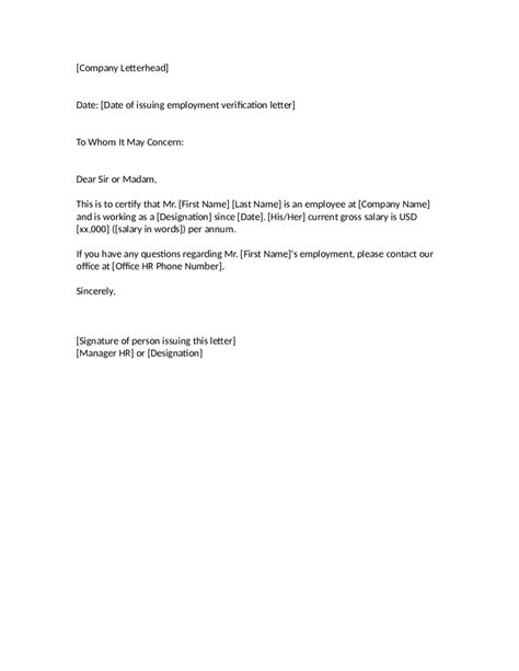 Employment Verification Letter With Address proof of employment letter sle employment verification