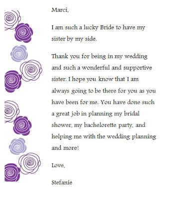 Thank You Letter Bridesmaids Just Another About This And That Unique Wedding Accessories