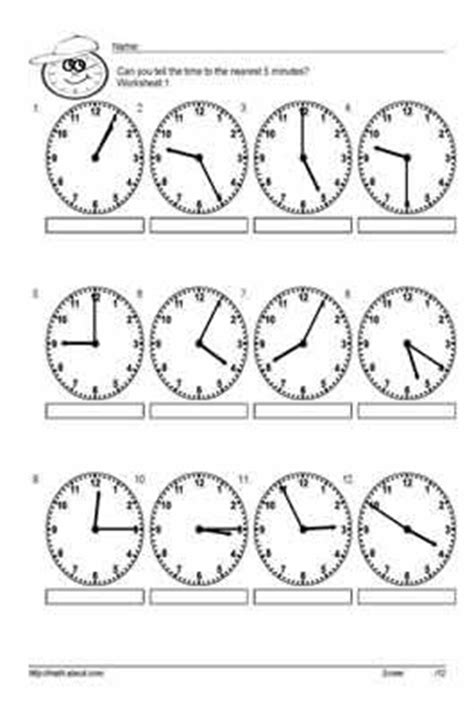 clock worksheets nearest 5 minutes telling time to the nearest 5 minutes