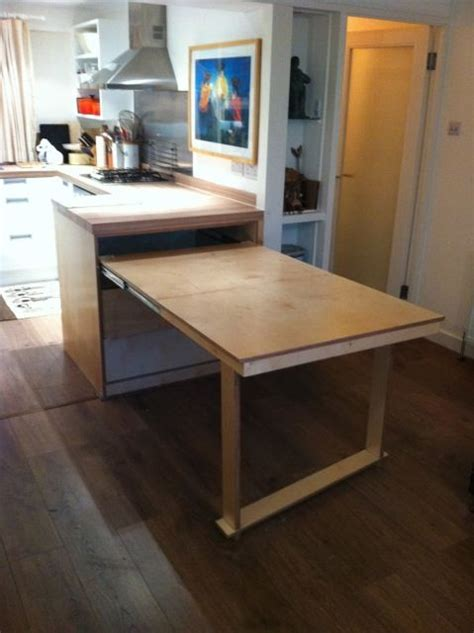 kitchen folding table pull out table uk based carpenter tucks kitchen livingspace carpentry joinery