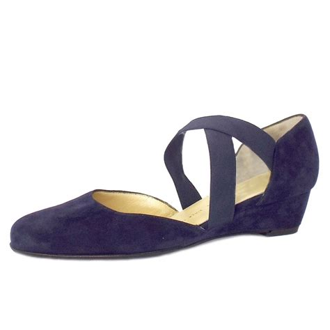 navy shoes for kaiser jaila navy suede low wedge shoes