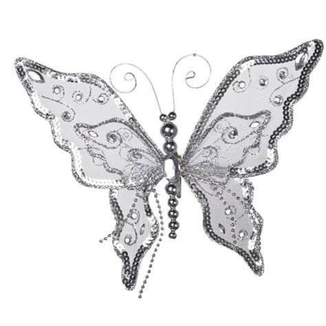Silver Butterflies Decoration by Silver Glitter Lace Jewelled Butterfly With Beaded
