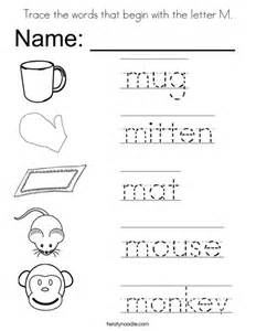 Trace The Words That Begin With The Letter M Coloring Page