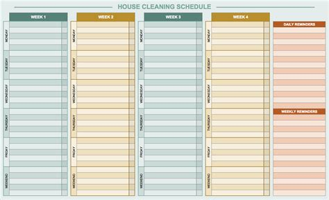 cleaning calendar template free daily schedule templates for excel smartsheet free