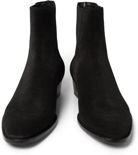 laurent mens chelsea boots laurent suede chelsea boots in black for lyst