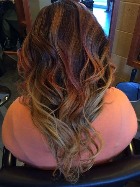 fohawk with red highlights red and blonde balayage high lites yelp