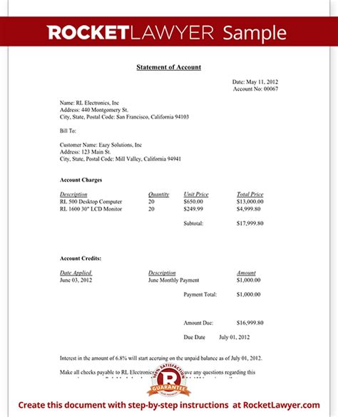 statement of account template statement of account free statement of account letter