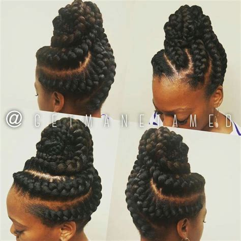Braid Updo Hairstyles For Black Hair by Goddess Braids Updo Ig Getmanetamed Goddess Braids