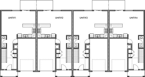 narrow townhouse floor plans 4 plex plan 22 ft wide house plan row home plan f 545
