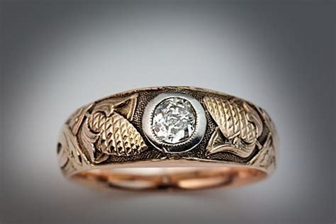 men s medieval style diamond ring russian c 1910 from