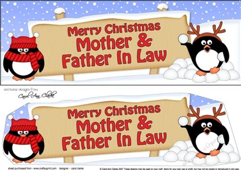 large dl merry christmas mother father  law  penguins  decoupage cup