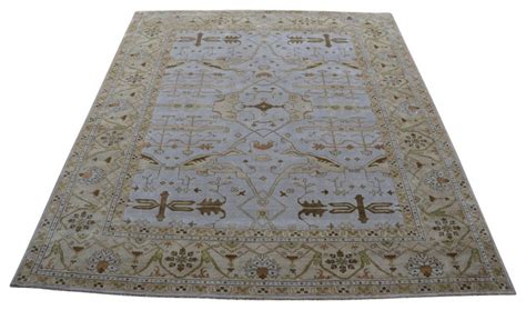 12x14 area rugs rug galaxy 12x14 knotted light blue oushak rug area rugs houzz
