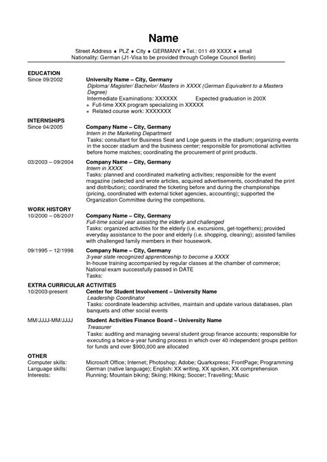 Us Resume Format by Us Resume Template Fee Schedule Template