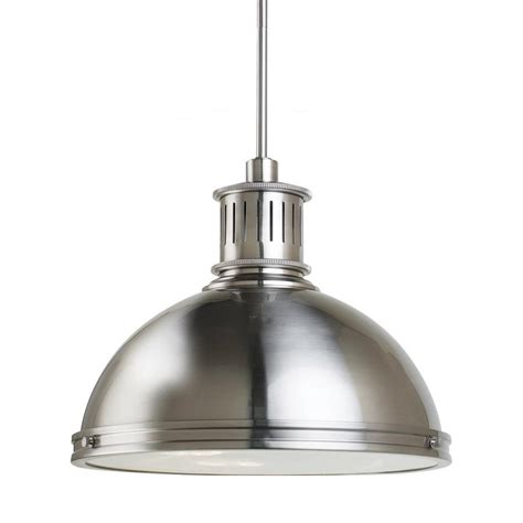 brushed nickel pendant light lowes shop sea gull lighting pratt street 16 in brushed nickel